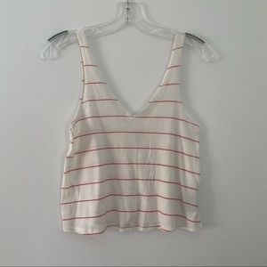 Urban Outfitters Red Striped Tank Crop Top